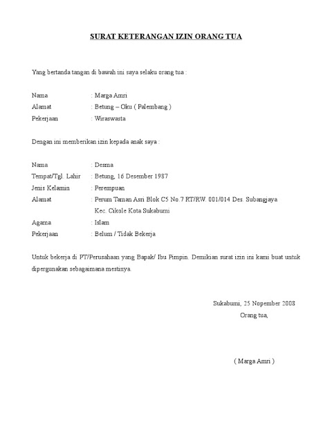 Contoh Surat Izin Orang Tua (via: scribd.com)