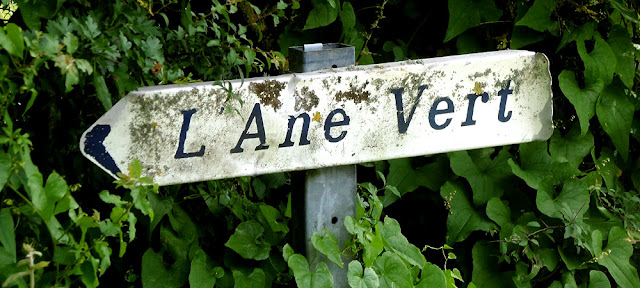 L'Ane Vert signpost. Indre. France. Photographed by Susan Walter. Tour the Loire Valley with a classic car and a private guide.