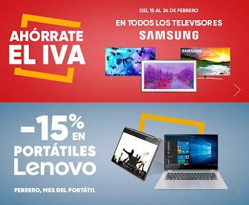 Mejores ofertas Ahórrate el IVA TVs Samsung y -15% portátiles Lenovo Fnac