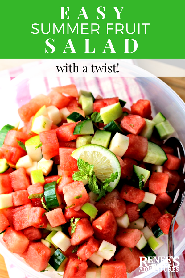 Easy Summer Fruit Salad | by Renee's Kitchen Adventures - a healthy and easy recipe for watermelon, apples, and cucumber accented with lime and mint.  So refreshing! #fruitsalad #easyrecipe #watermelon #cucumber