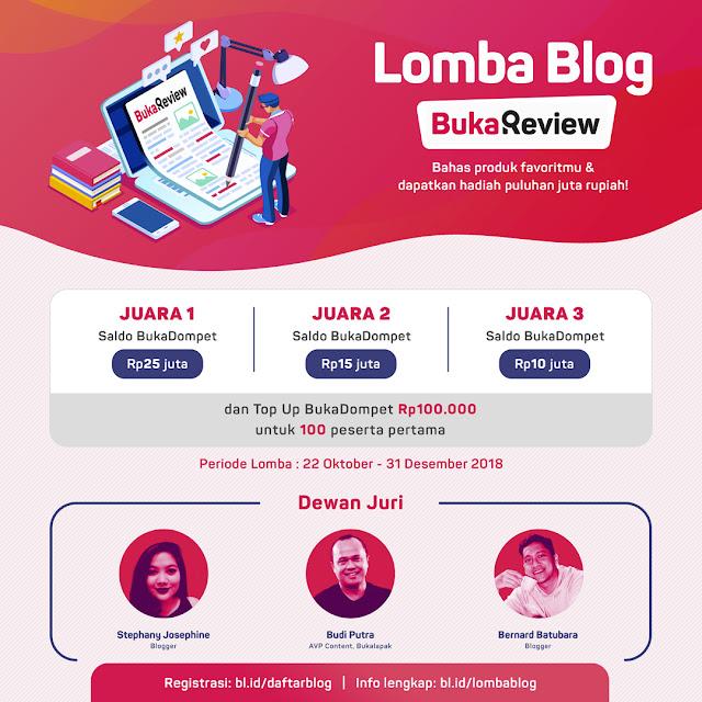 Lomba Blog BukaReview 2018 Umum Hadiah Total 60 Juta