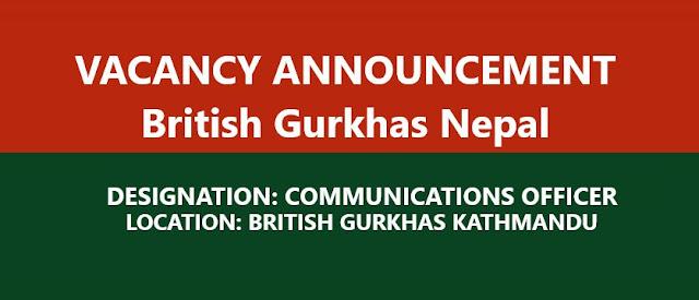 Vacancy at British Gurkhas Kathmandu;