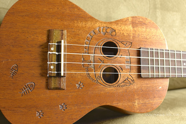 Kmise Carved Cat Concert Ukulele engraved cat