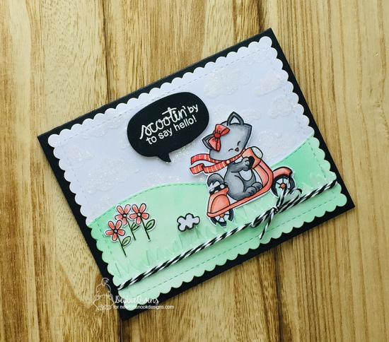Scootin' by to say hello by Debbie features Newton Scoots By, Cloudy Sky, Speech Bubbles, Frames & Flags, Land Borders, and Newton's Valentine by Newton's Nook Designs; #newtonsnook