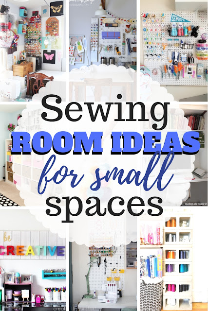 Great list of several sewing room and craft room organization ideas especially sewing room ideas for small spaces.