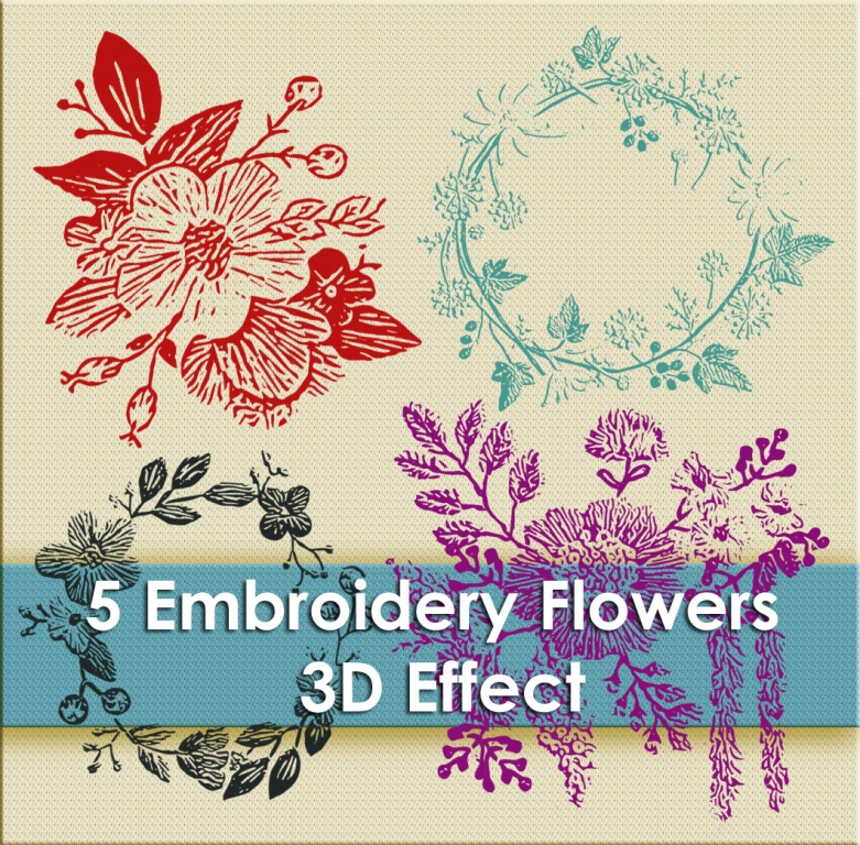 5 Stitch Embroidery Flowers 3D effect - brush for photoshop