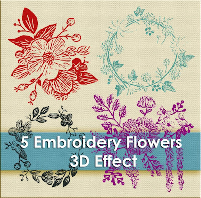 embroidery, Bordir Embroidery Motif Brushes, Flowers, 3d effect, stitch effect, flowers embroidery,