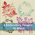 5 Stitch Embroidery Flowers 3D effect