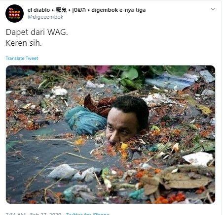 Viral Foto Anies Berendam di Air Penuh Sampah, Pemprov: Keterlaluan!