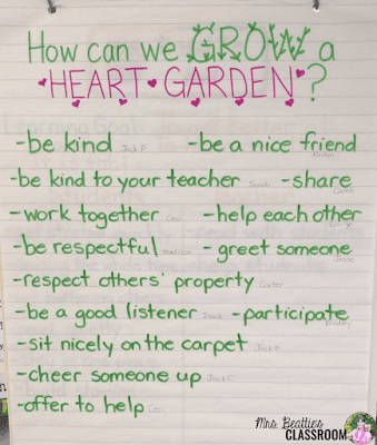"Photo of ""How Can We Grow a Heart Garden"" anchor chart"