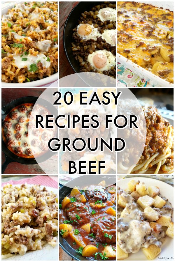 20 Recipes for Ground Beef! Easy to prepare family favorite recipes made with hamburger meat and easy-to-find ingredients like rice, potatoes, pasta.