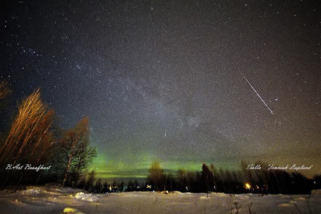 Meteoro da chuva Geminidas registrado em 2017 na Lapônia, Finlândia