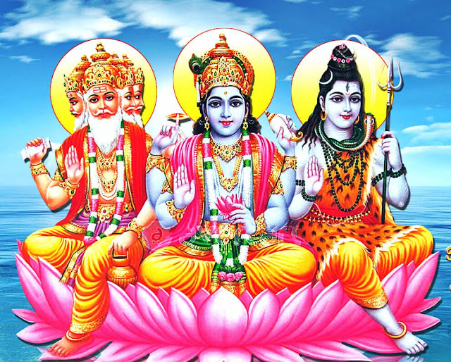 Brahma and Vishnu worship Lord Shiva