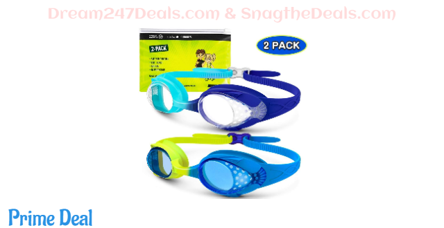 35%OFF 2-pack kids swim goggles with clear/tint lens bundle