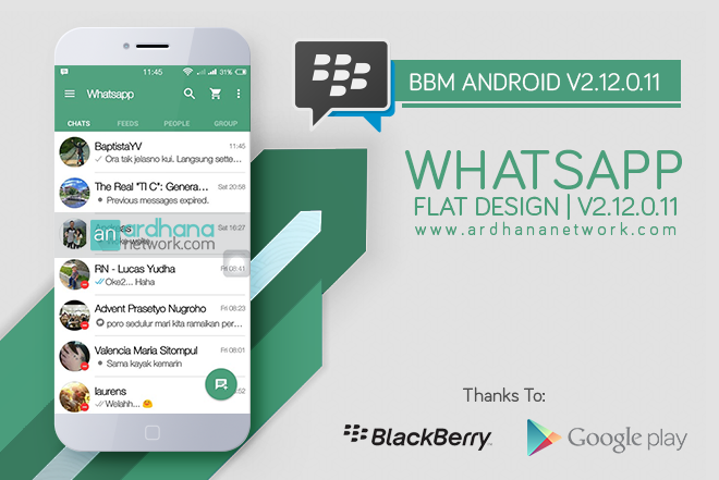BBM Whatsapp Flat Design - BBM Android V2.12.0.11