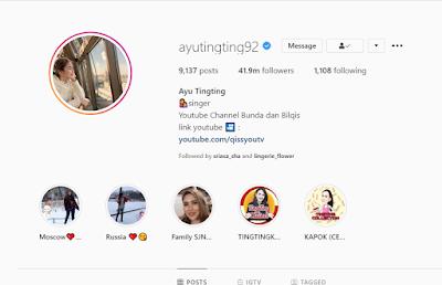 Akun Instagram Ayu Ting-Ting