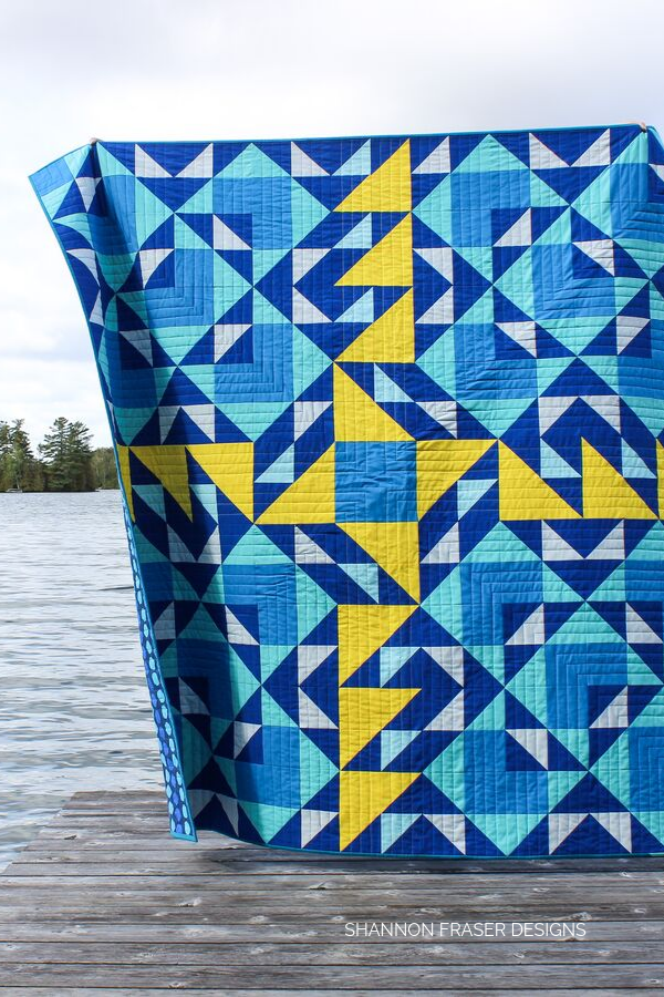 Double Windmill Quilt swaying in the wind | Modern quilt pattern | Shannon Fraser Designs #modernquilt #quiltinthewild #quilting