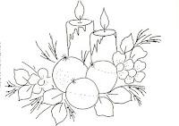 risco natalino com velas e bolas