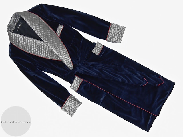 Mens velvet dressing gown long robe smoking jacket quilted