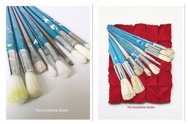photograph of paintbrushes and same photo recreated with paper strips