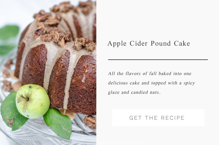 A perfect flavorful fall cake - Apple Spice Pound Cake topped with a spicy glaze and candied pecans.