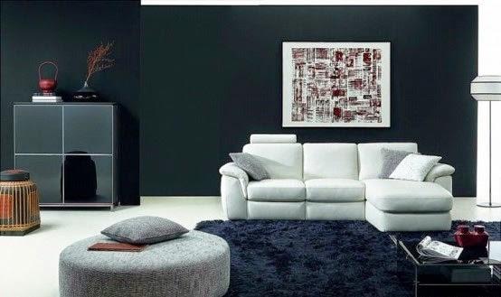 Salas decoradas en negro y blanco salas con estilo for Sofas de cuero natuzzi