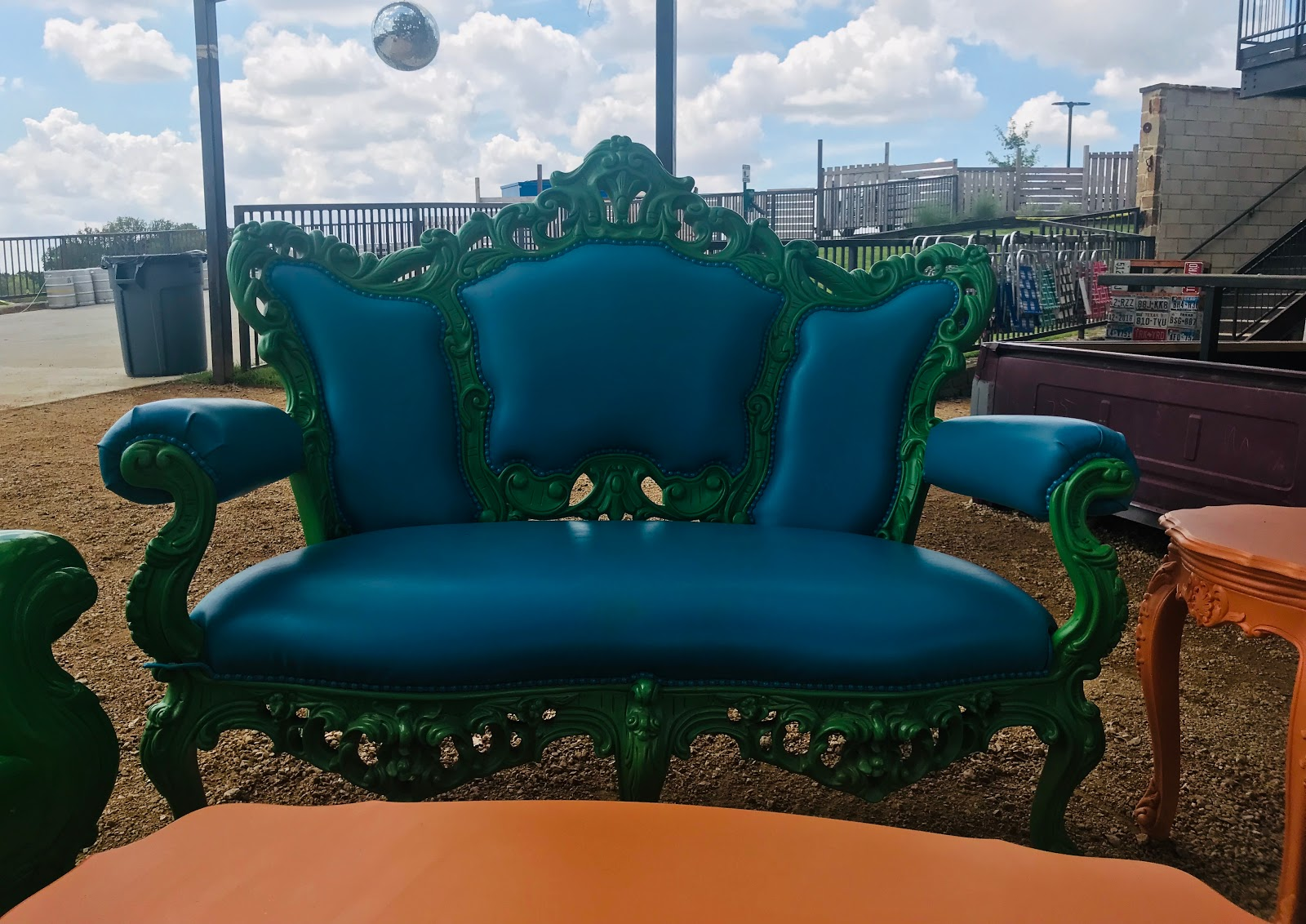 Image: Blue chair at Truck Yard. Taken pictures by Tangie Bell for Morning Babbles