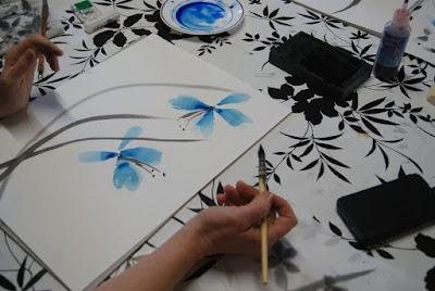 atelier sumi e avec les arts en tete