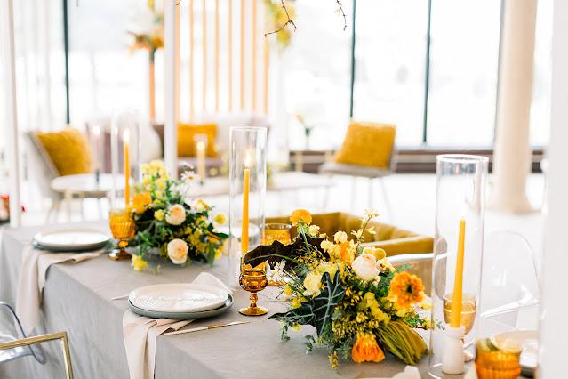 Yellow reception table decor