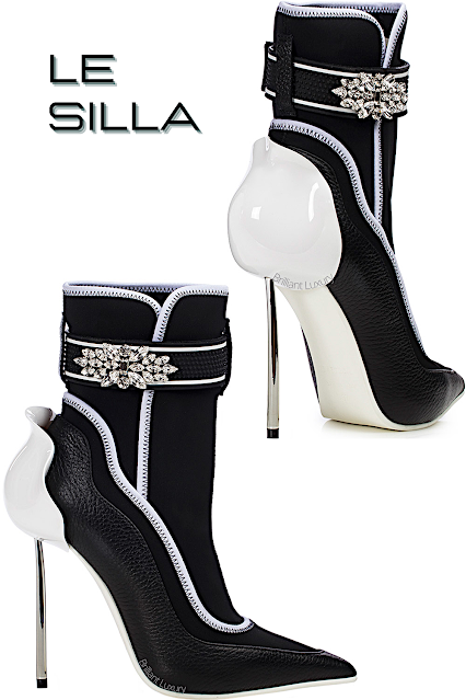 Le Silla Snorkeling black and white leather and fabric ankle boot #lesilla #shoes #brilliantluxury