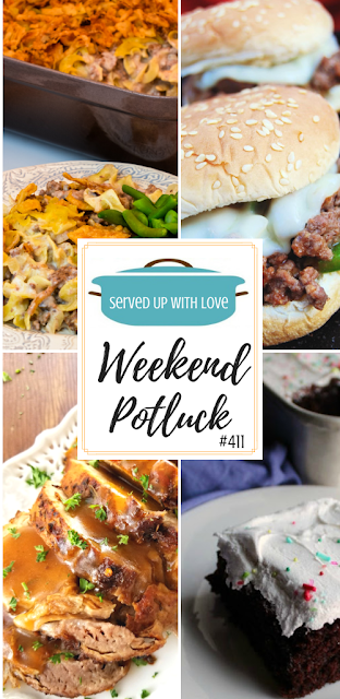 Weekend Potluck featured recipes include Philly Sloppy Joes, 7 Minute Frosting, French Onion Beef Stroganoff Casserole, Butter-Braised Slow Cooker Pork Roast, and so much more.