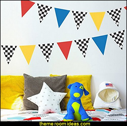 Race Car Flags Red Yellow and Blue Wall Decals Removable and Reusable Peel and Stick