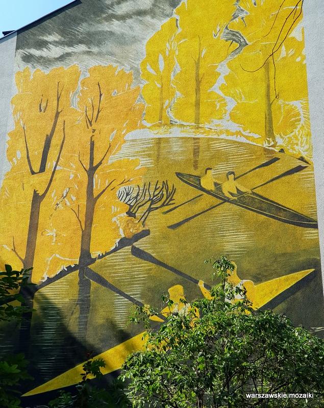 Warszawa Warsaw Panieńska 3 Wanda Telakowska kajaki 1933 mural murals murale warszawskie Praga Północ