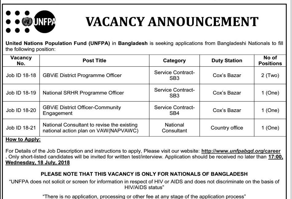 UNFPA Bangladesh Recruitment circular 2018