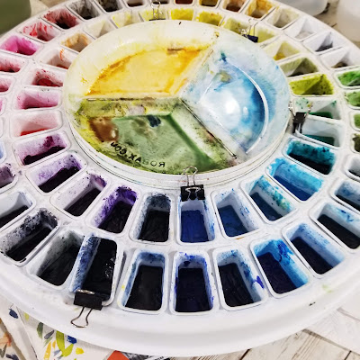 My watercolor palette.  © 2021 Christy Sheeler Artist