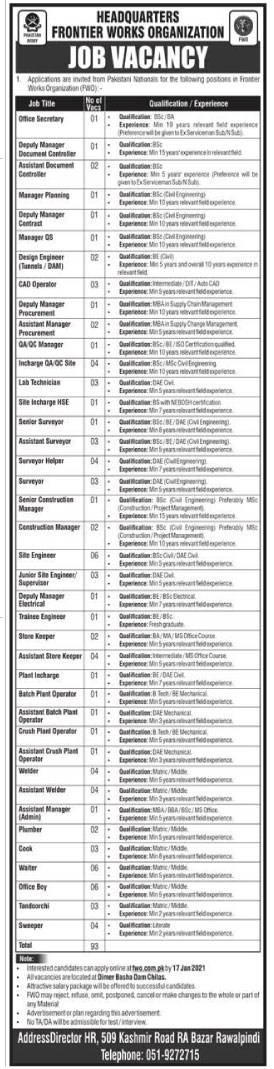 FWO - What is FWO - Frontier Works Organization Jobs 2021 - FWO Pakistan - What is FWO - FWO Careers - FWO Jobs 2021 - Online Application Form - fwo.com.pk