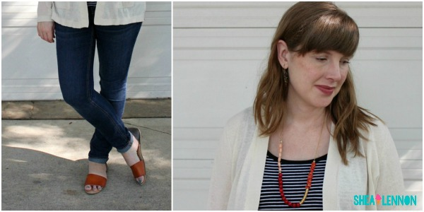 Late summer / early fall outfit idea - neutral cardigan, striped top, jeans, and colorful necklace | www.shealennon.com