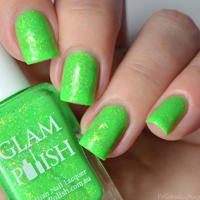 lime green nail polish with flakies