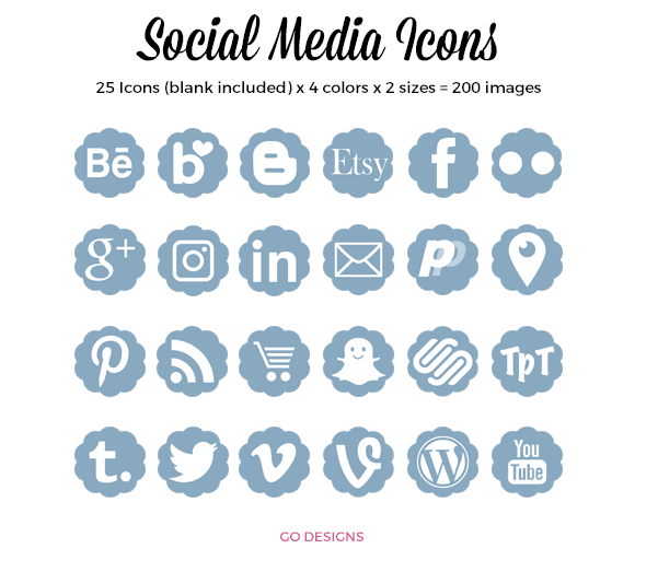 Social Media Icons 25 icons x 4 sizes GradeONEderfulDesigns.com