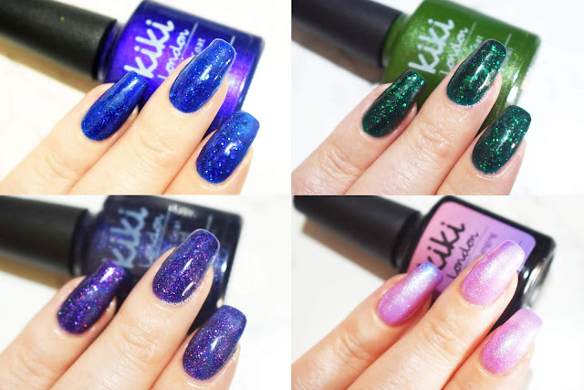 Kiki London nail gel Disco Blue, Green Tinsle, Galaxy and Pretty Girl swatches
