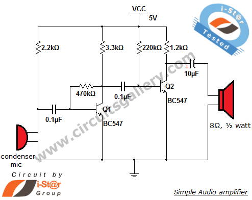simple condenser microphone circuit electronic circuit rh elcircuit com Microphone Amplifier Circuit Microphone with Amplifier Op Amp Circuit Diagram