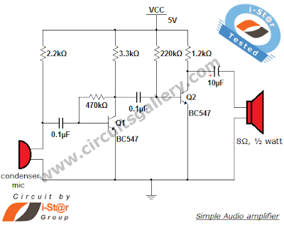 Simple condenser microphone circuit