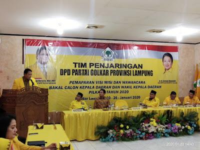 Ketua Golkar Lampung Buka Pemaparan Visi dan Misi Bacalon Kepala Daerah Tahun 2020