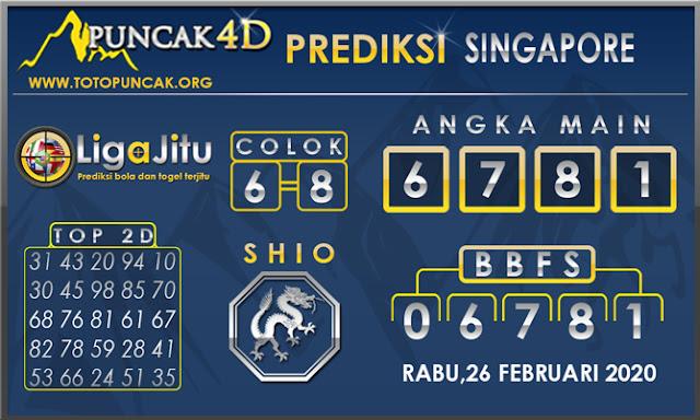 PREDIKSI TOGEL SINGAPORE PUNCAK4D 26 FEBRUARI 2020