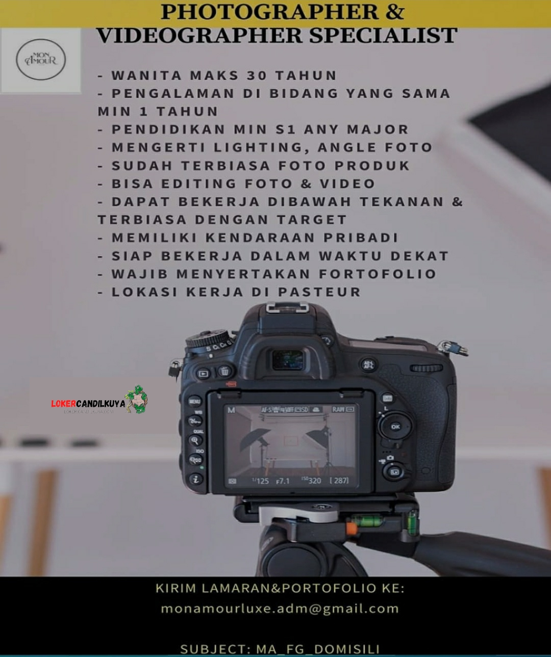 Lowongan Kerja Photographer & Videographer Bandung