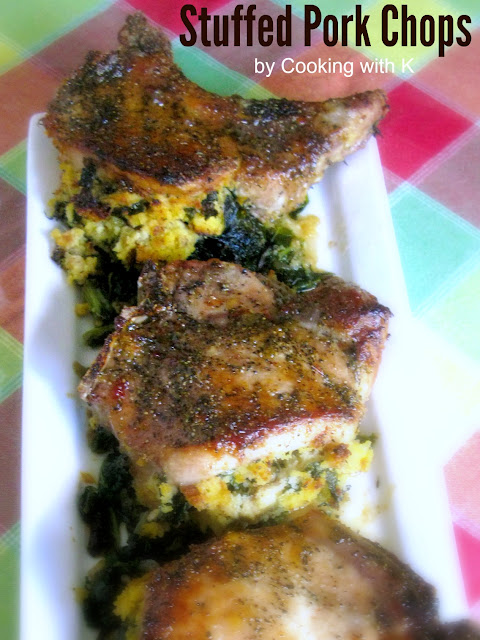 ... Collards and Cornbread Stuffed Pork Chops with Pepper Jelly Glaze