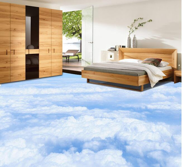 self leveling 3D floor murals above the sky theme