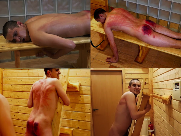 #RusStraightGuys - Back whipping for Siberian Ildar 24 y.o.