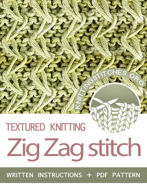 SLIP STITCH KNITTING. #howtoknit the Zig Zag stitch. FREE written instructions, PDF knitting pattern.  #knittingstitches #slipstitchknitting