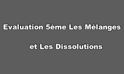 Evaluation 5ème Les Mélanges et Les Dissolutions